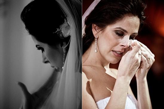 Noiva chorando e usando lenço de papel