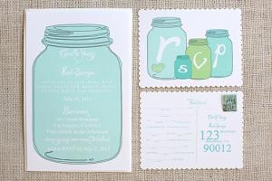 Modelo de convite de chá de panela com pote de vidro para download do site Wedding Chicks.