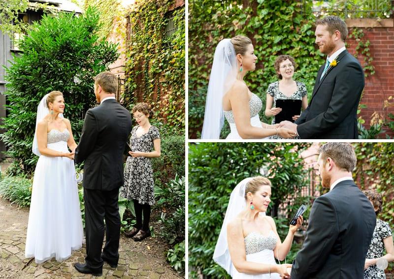 Casamento ao ar livre elopement em um jardim. Photo De Nueva Photography.