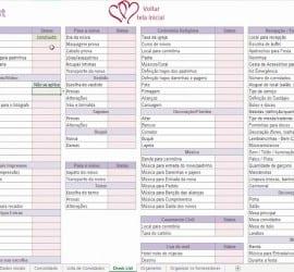 Planilha de organização geral do casamento.