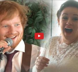 Ed Sheeran toca Thinking Out Loud de surpresa em casamento para primeira dança dos noivos.