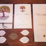 Convite de casamento rústico, com árvore e folhas. Casamento Mateus e Marcella (da dupla Jorge e Mateus). Fotos: Michel Castro.